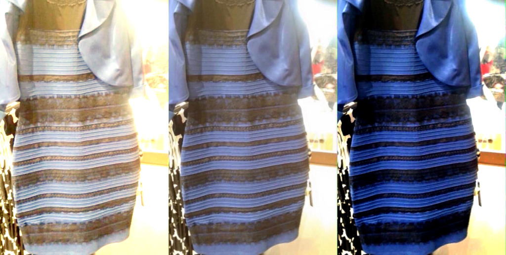 The original image is in the middle. At left, white-balanced as if the dress is white and gold. At right, white-balanced to blue and black. (Photo Credit: Tumblr)